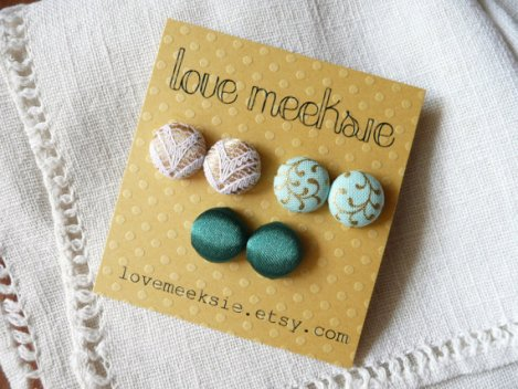 Love, Meeksie fabric earrings