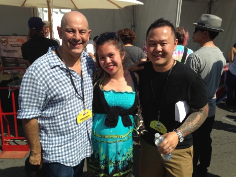 Merrin Mae with Cutthroat Kitchen judges Chef Simon Majumdar & Jet Tila at LA Weekly's Tacolandia 2014