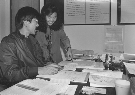 1994, Los Angeles: Hirahara as English section editor of the Rafu Shimpo with Japanese section editor Yukikazu Nagashima