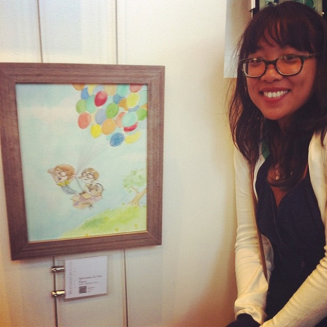Santos with one of her original WonderGround Gallery pieces