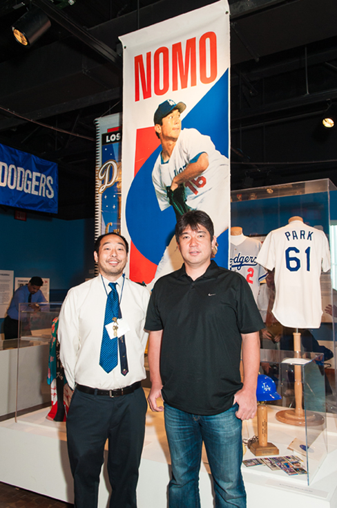 Sakai in July with former Dodgers pitcher Hideo Nomo (photo by Michael Palma)