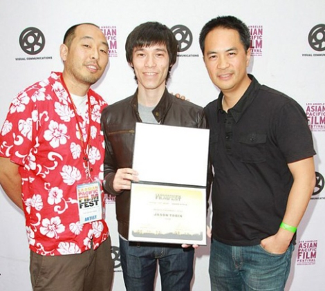"With actor Jason Tobin and director Stanley Yung of his film ""Chink"" (2013) that he wrote and produced"