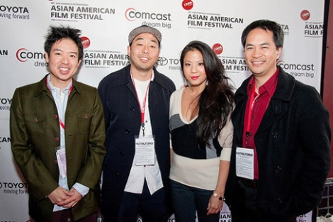 "At a film festival with ""The People I've Slept With"" team: director Quentin Lee, star Karin Anna Cheung, producer Stanley Yung"